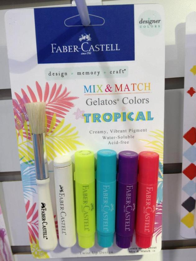 New Tropicals Gelatos with a stipple brush (for splatter techniques) and a dot dabber (for polka dots)!