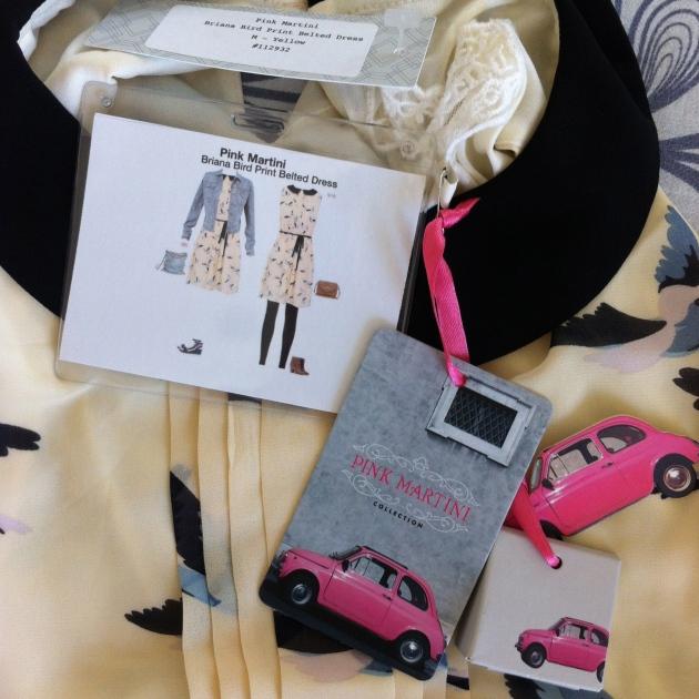 Pink Martini Briana Bird Print Belted Dress